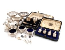 A mixed lot of silver items, various dates and makers, comprising: a cased set of four pepper