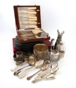 A mixed lot, comprising silver items: a silver-mounted glass table vesta striker, by Hukin and