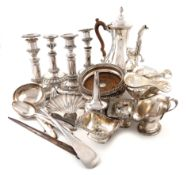 A large quantity of old Sheffield and electroplated items, comprising: a pair of Victorian