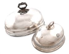 A large old Sheffield plated meat dish cover, unmarked, domed oval form, foliate scroll carrying