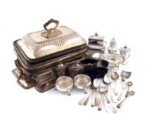 A mixed lot, comprising silver items: a pair of George II cauldron salt cellars, London 1759, on