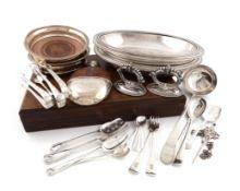 λA mixed lot, comprising silver items: a George III Bright-cut soup ladle, London 1779, two pairs of