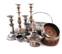 λA mixed lot of old Sheffield and electroplate, including a coffee pot, of tapering circular form,