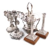 A mixed lot of electroplated items, comprising: a pair of tazza stands, with a central vine column