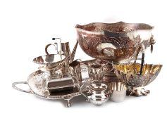 λA large quantity of electroplated items, including a four-piece tea and coffee set, a tray, a punch