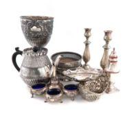 λA mixed lot of old Sheffield and electroplated items, including: a trophy cup, a warming stand base