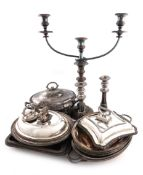 A mixed lot of old Sheffield plated and electroplated items, comprising: a pair of candlesticks,