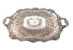 An early 19th century old Sheffield plated two-handled tray, by Robert Gainsford, circa 1820, shaped