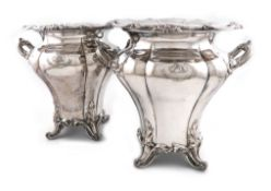 A pair of early 19th century old Sheffield plated two-handled wine coolers, by Roberts, Smith and