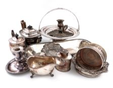 λA mixed lot of old Sheffield and electroplated items, including: a knife tray, of rounded