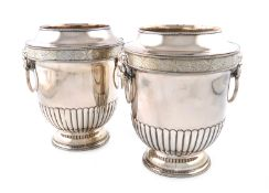 A pair of George III old Sheffield plated wine coolers, the underside stamped with an M or a W,