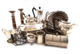 A mixed lot of old Sheffield plate and electroplate, comprising: a set of four wine coasters, of
