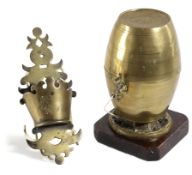 A BRASS STRING BARREL EARLY 19TH CENTURY with a tap cutter, mounted on a mahogany plinth, together