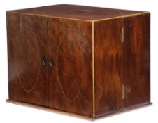 A GEORGE III MAHOGANY AND BURR YEW PORTABLE WRITING CABINET C.1790-1800 inlaid with stringing, the