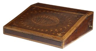 A GEORGE III HAREWOOD AND MARQUETRY WRITING SLOPE C.1790-1800 with fruitwood feather banding and