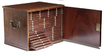 A GEORGE III MAHOGANY TABLETOP COLLECTOR'S CABINET C.1800 with kingwood banding, the hinged door