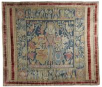A BRUSSELS TAPESTRY MARRIAGE PANEL 18TH CENTURY depicting a Queen between two coats of arms,