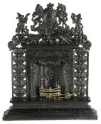 A VICTORIAN CAST IRON MINIATURE FIREPLACE MID-19TH CENTURY possibly a travelling salesman's