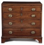 AN EARLY GEORGE III MAHOGANY CHEST C.1760 the caddy moulded crossbanded top inlaid with stringing