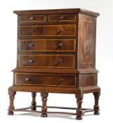 A WALNUT MINIATURE CHEST ON STAND IN WILLIAM AND MARY STYLE EARLY 20TH CENTURY inlaid with boxwood