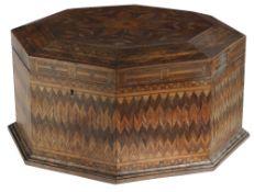 λ A ROSEWOOD AND MARQUETRY OCTAGONAL SEWING BOX POSSIBLY GERMAN OR DUTCH, EARLY 19TH CENTURY overall