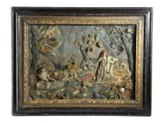 AN UNUSUAL STUMPWORK AND SILK PICTURE 17TH CENTURY ELEMENTS AND LATER depicting King Charles II
