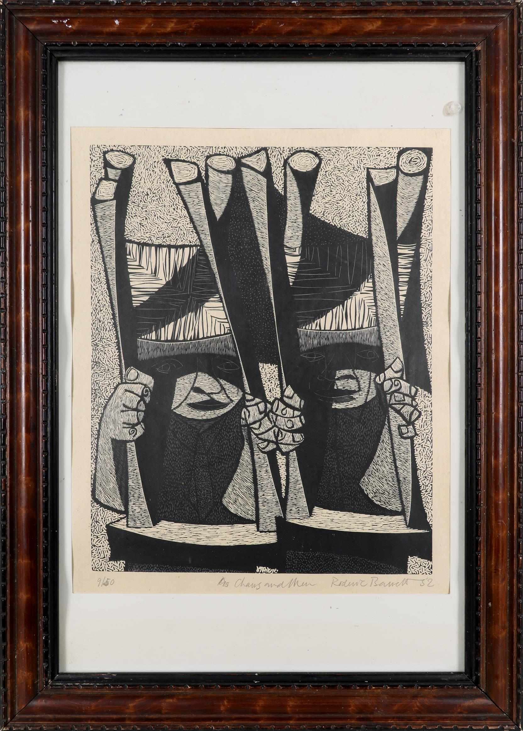 ‡Roderic Barrett (1920-2000) Chairs and Men Signed, dated, numbered and inscribed 9/50 Chairs and - Image 2 of 3