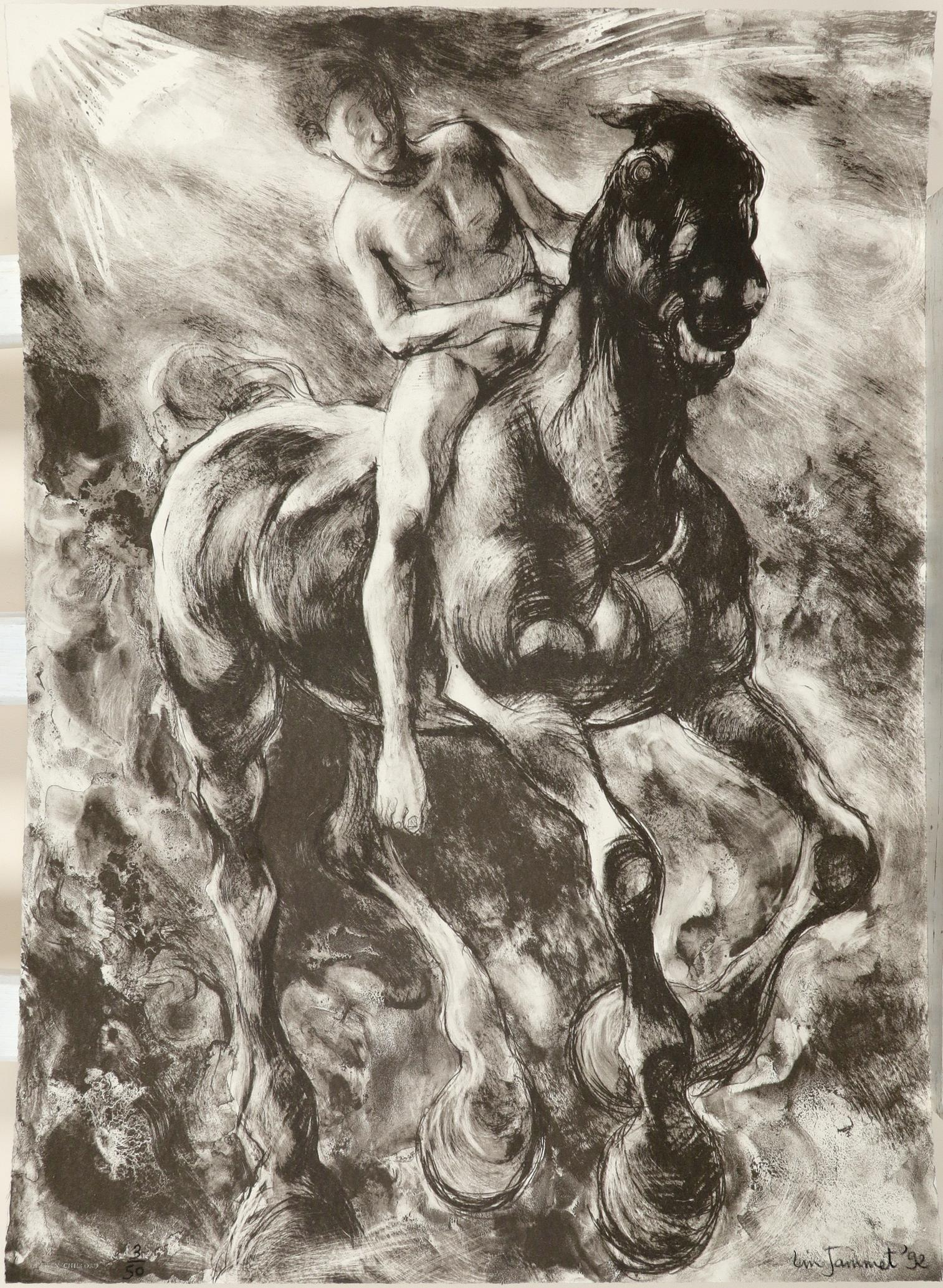 ‡Lin Jammet (1958-2017) Horse and rider Signed, dated and numbered 3/50 Lin Jammet '92 (in pencil to - Image 2 of 3
