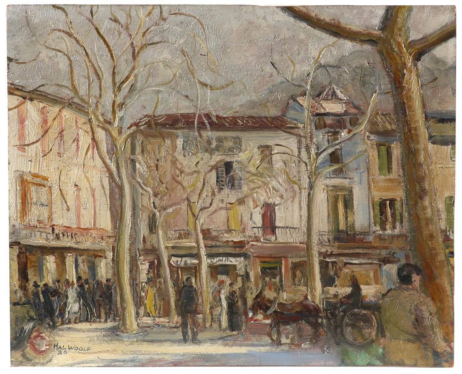 ‡Hal Woolf (1902-1962) Market Scene, Sóller, Mallorca Signed HAL WOOLF/36 (lower left) Oil on - Image 2 of 3