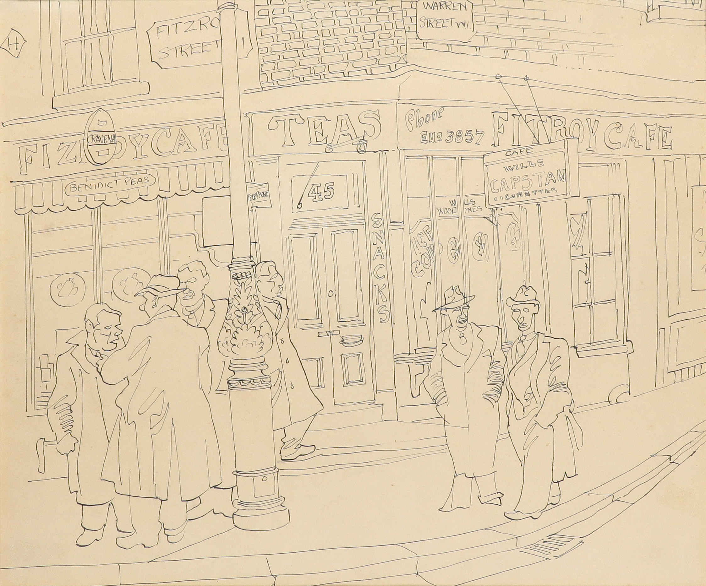 ‡Julius Stafford-Baker (1909-1988) The Fitzroy Cafe Pen and ink 30.8 x 37cm Provenance: Sally Hunter