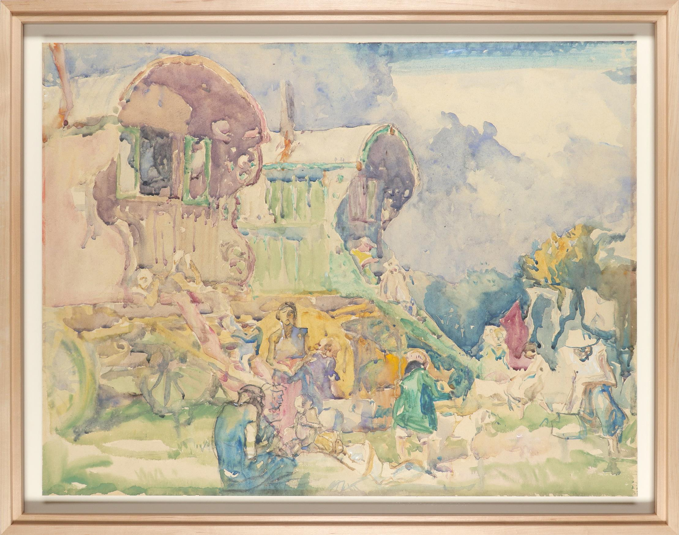 ‡Sir Frank Brangwyn RA, RWS, RBA (1867-1956) Gipsy caravan Watercolour 55.5 x 72.6cm Provenance: - Image 2 of 3