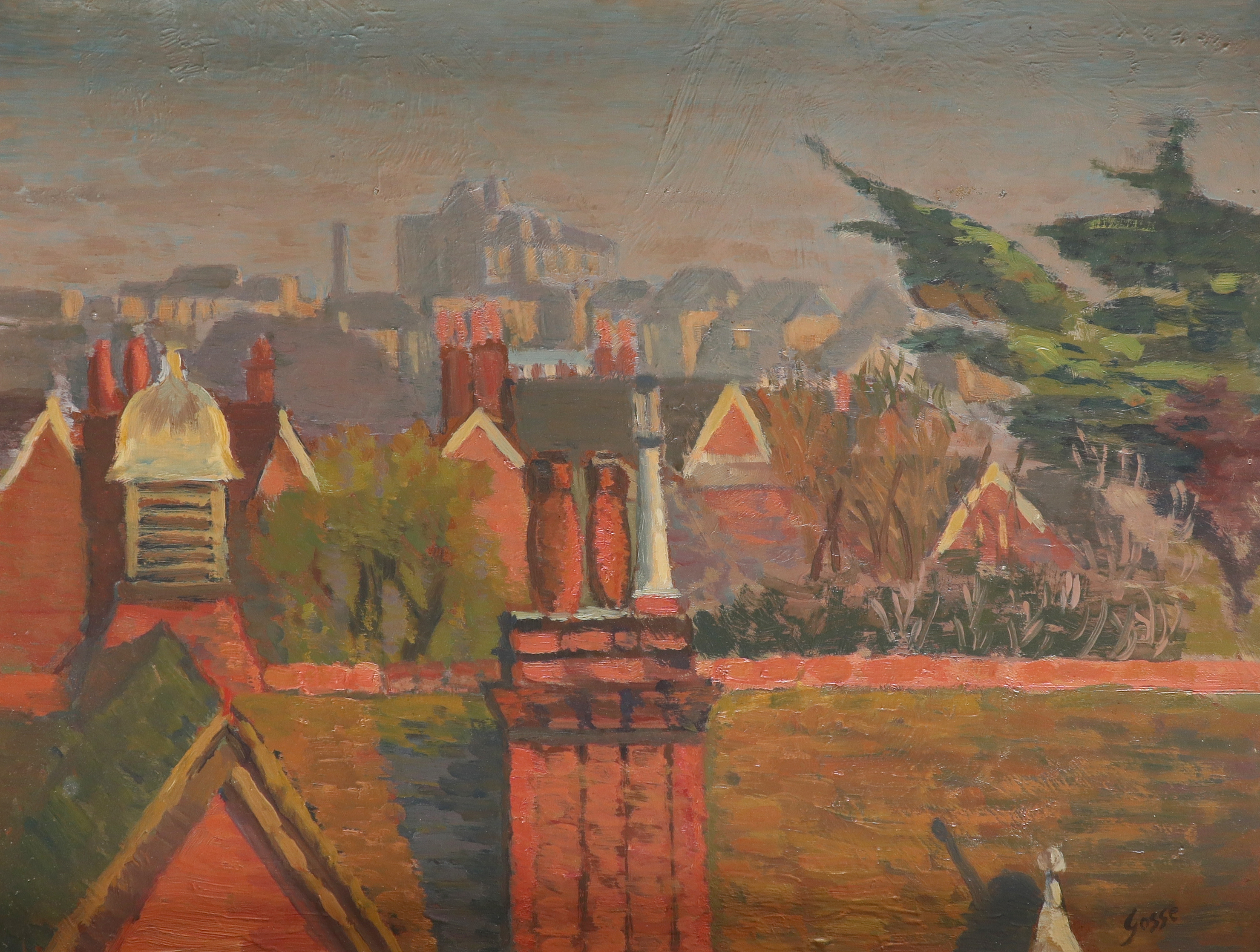 ‡Sylvia Gosse (1881-1968) Over the rooftops Signed Gosse (lower right) Oil on board 45.8 x 60.9cm