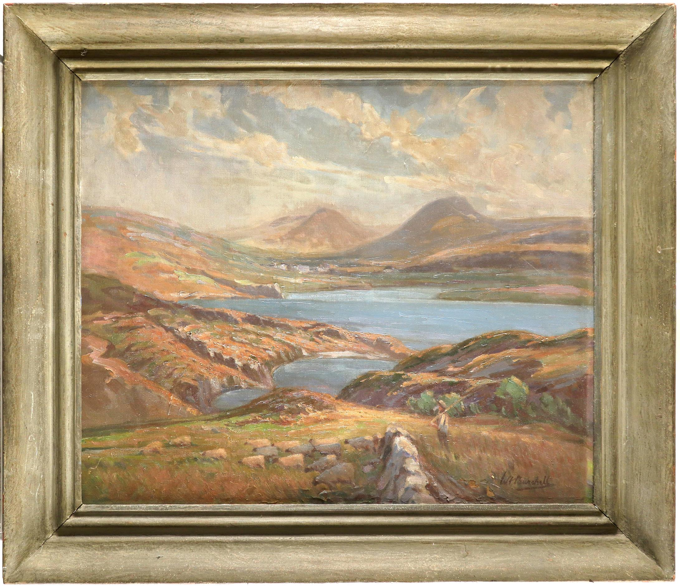 William F. Burchell (act. 1909-1937) A Scottish Loch Signed W F Burchell (lower right) Oil on canvas - Image 2 of 3