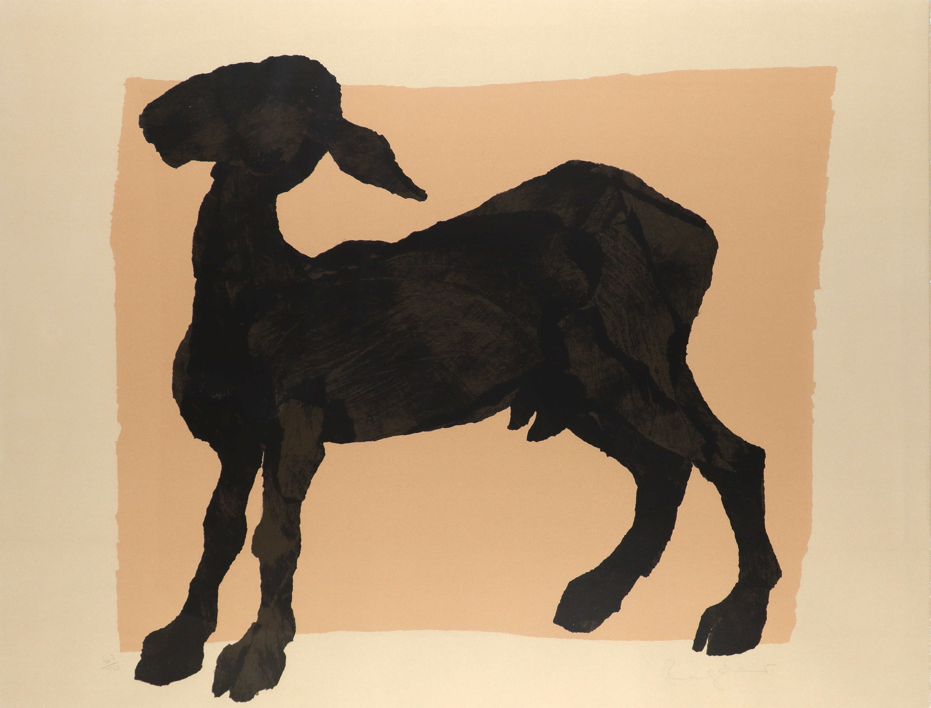 ‡Sophie Ryder (b.1963) Black goat Signed and numbered 63/70 Ryder (in pencil) Screenprint 79 x 103.