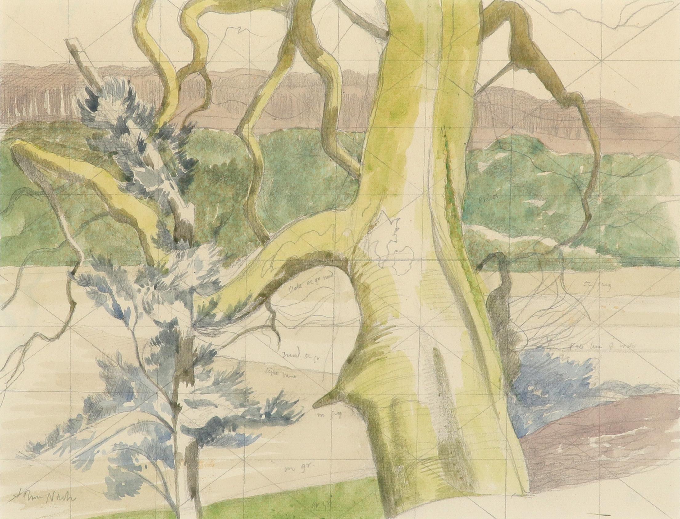 ‡John Nash CBE, RA (1893-1977) Tresililan estuary, Truro Signed John Nash (lower left) and variously