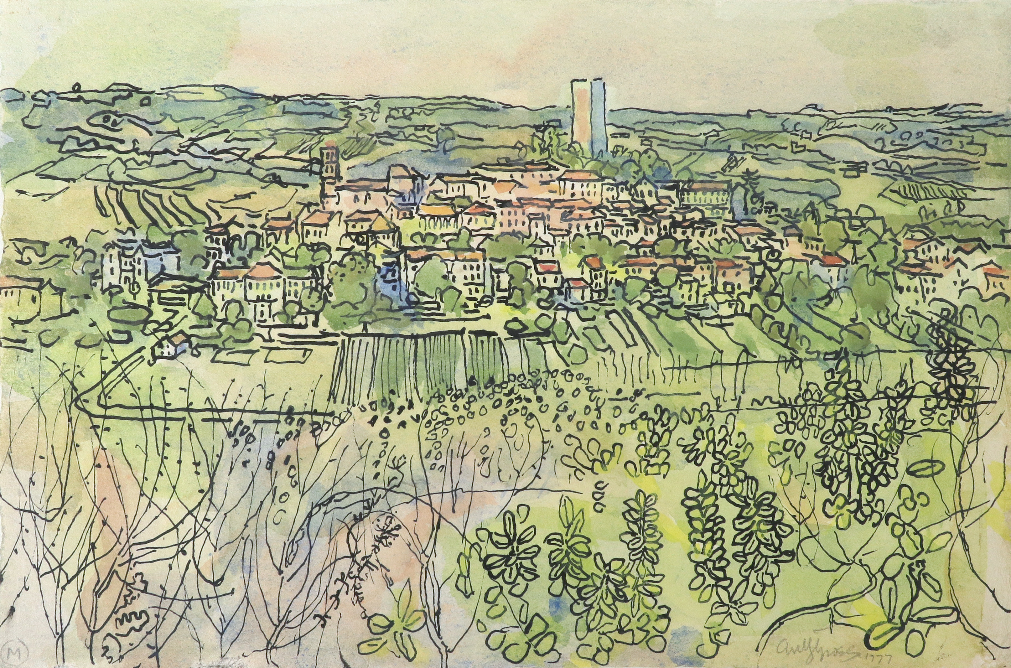 ‡Anthony Gross CBE, RA (1905-1984) A view of Montcuq, France Signed and dated antyGross 1977 (