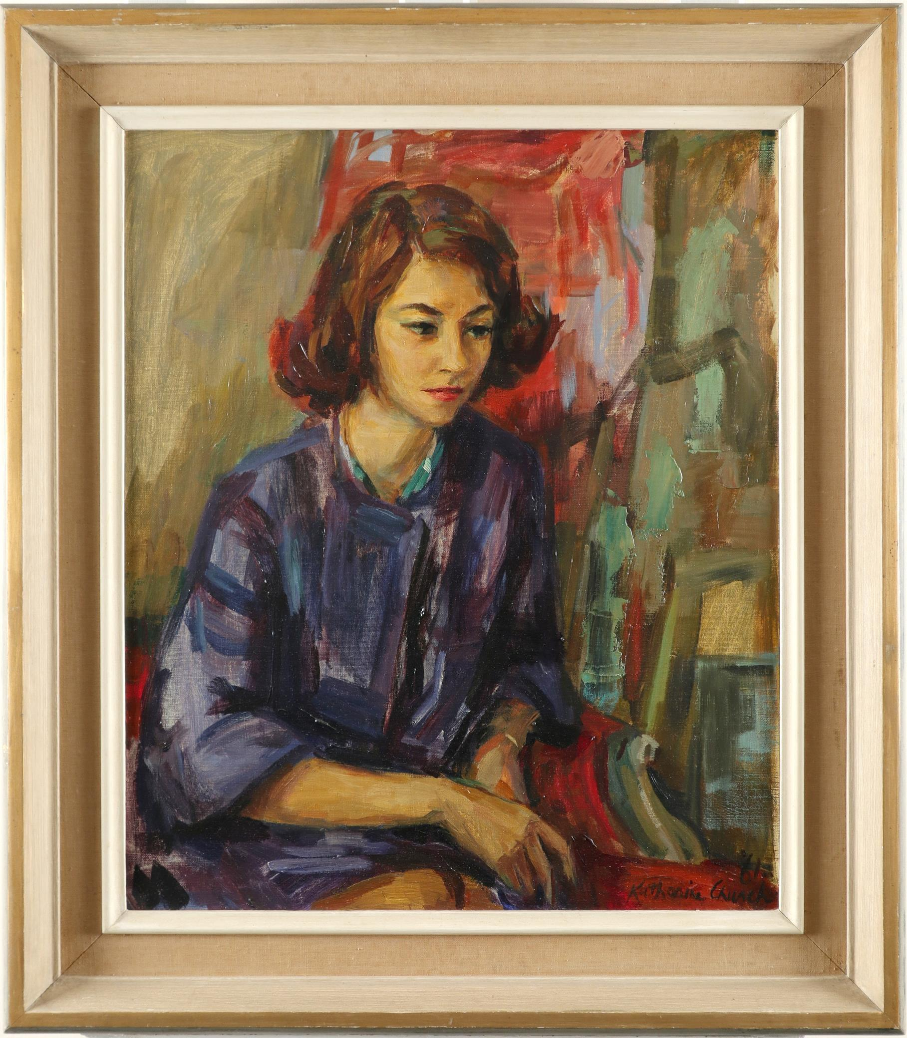 ‡Katherine Church (1910-1999) Portrait of a lady seated Signed and dated '61/Katherine Church (lower - Image 2 of 3