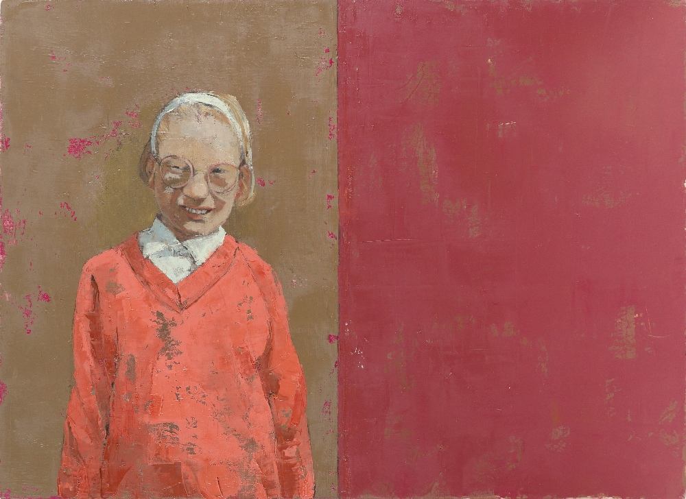 """‡Anna Gardiner (b.1966) All Buttoned Up Signed, dated and inscribed """"ALL BUTTONED UP""""/oil on linen"""