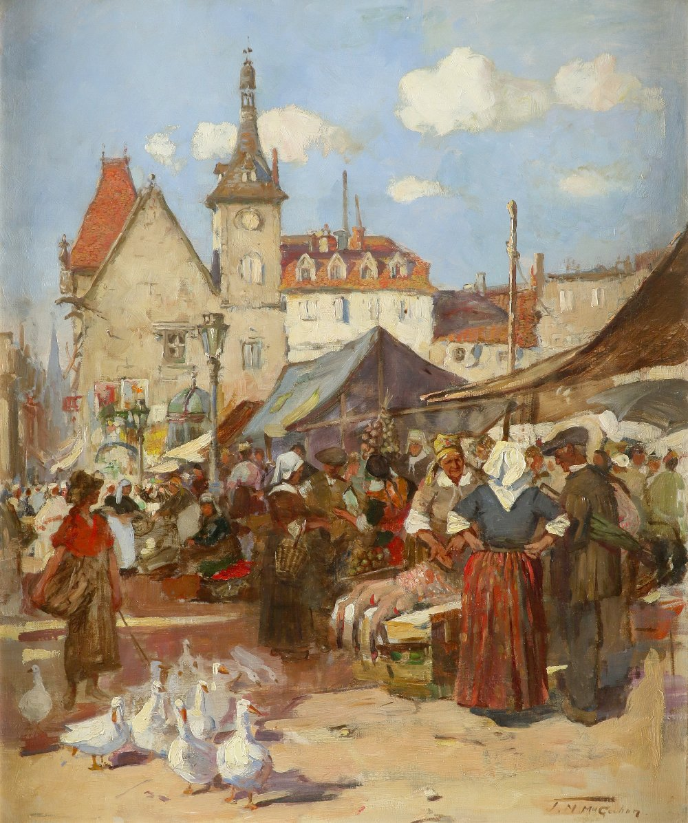 Jessie M. McGeehan (Scottish 1872-1950) Market day Signed J.M.McGeehan (lower right) Oil on canvas