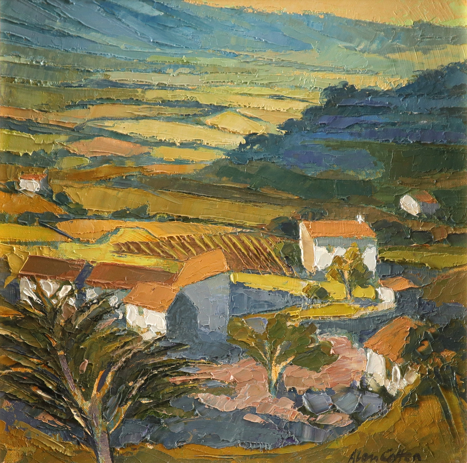 ‡Alan Cotton (b.1938) Provence - Valley Farm Signed Alan Cotton (lower right) Oil on canvas 31 x
