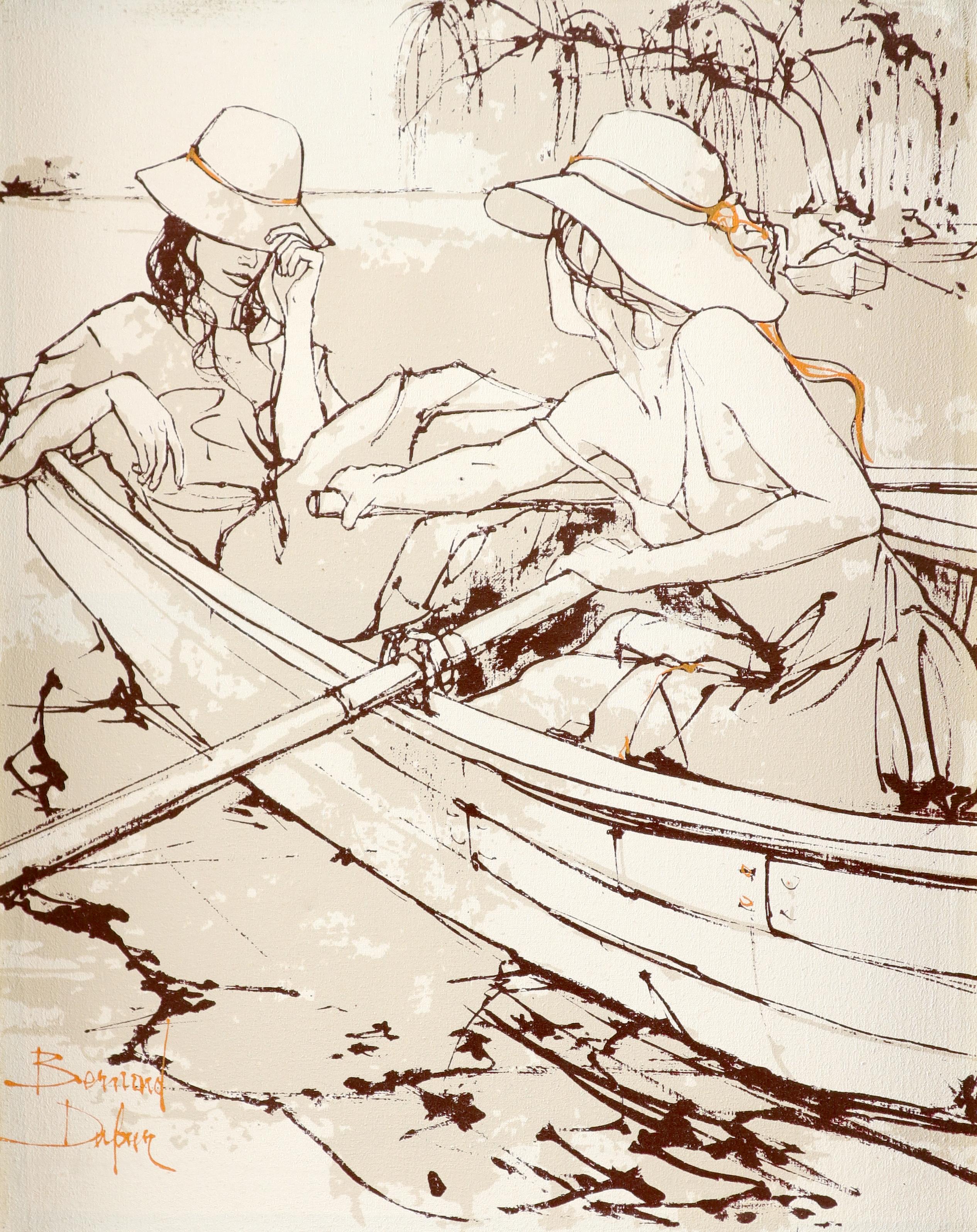 ‡Bernard Dufour (French 1922-2016) Young women boating; Young women in an alleyway Saint Tropez; A
