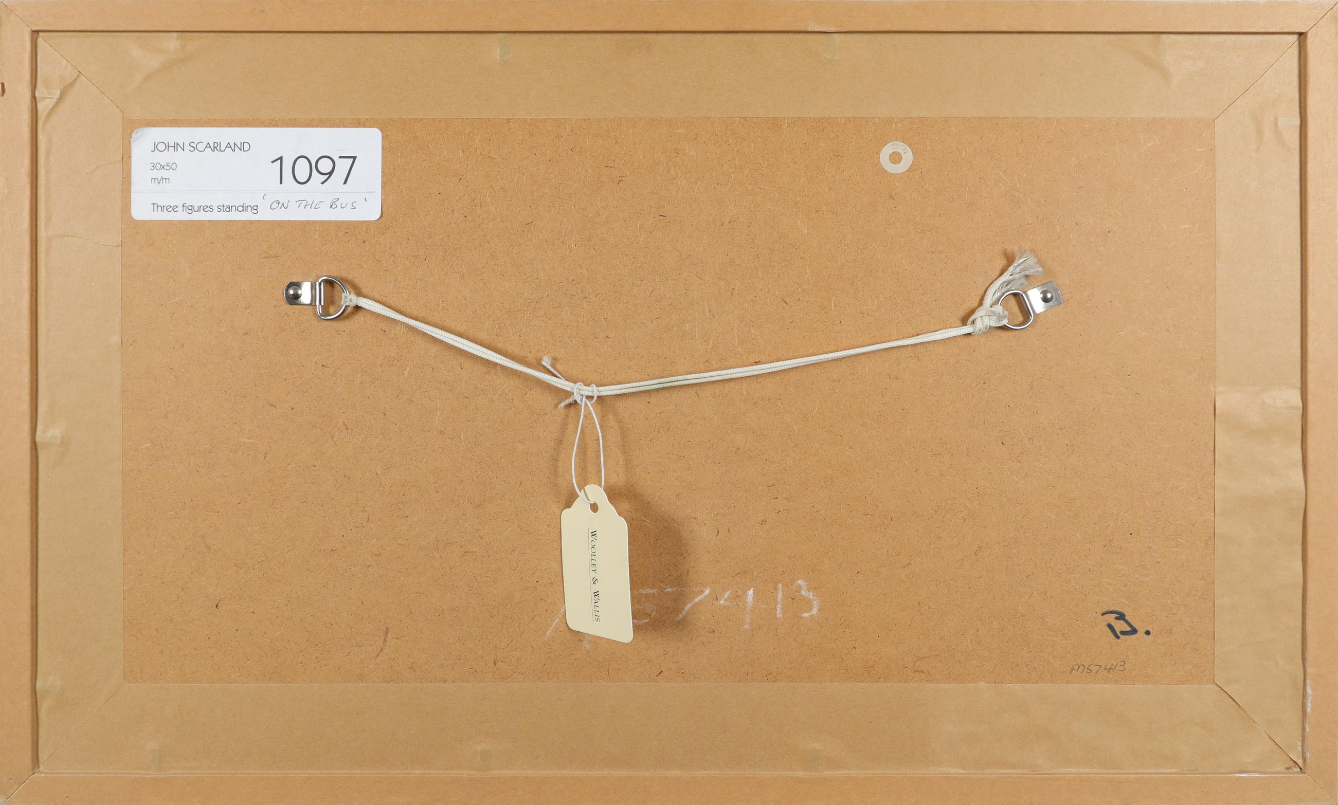 ‡John Scarland (Contemporary) On the bus Signed Scarland (to base) White card and steel against a - Image 3 of 3