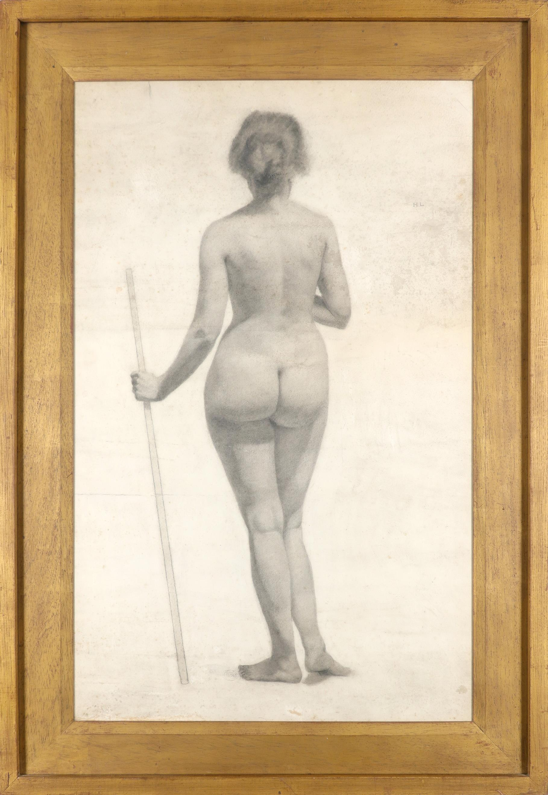 Lillian May Bevis Rowles (act. 1914-1918) Standing nude from the rear Inscribed H.L. (upper right) - Image 2 of 3