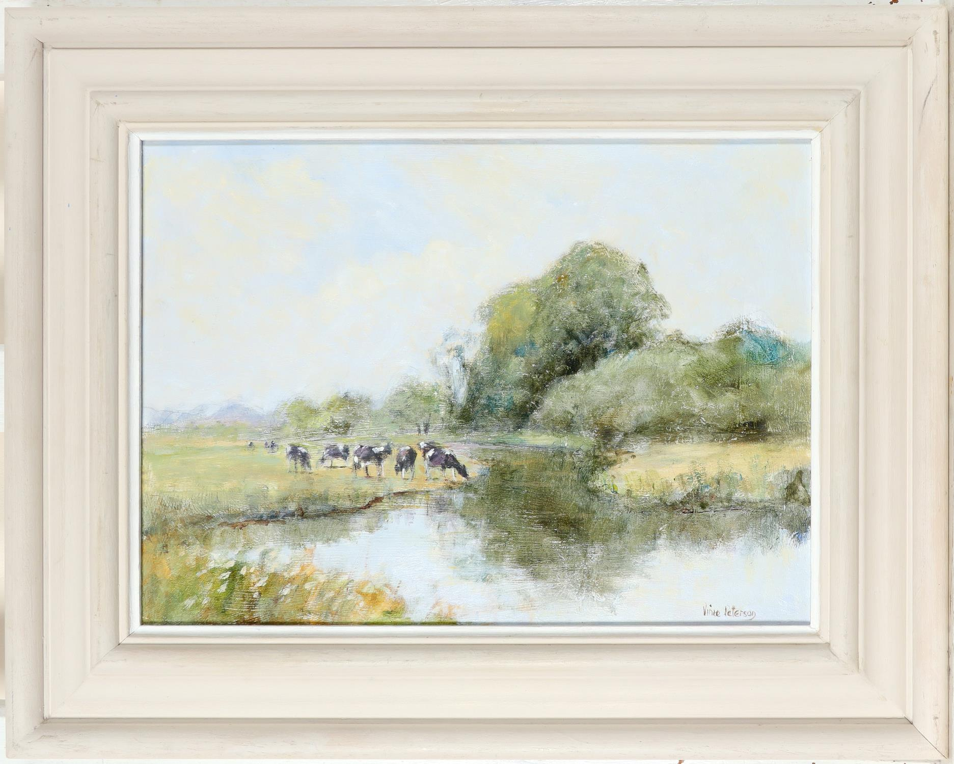 ‡Vince Petersen (b.1945) Grazing by the River Otter Signed Vince Petersen (lower right) Oil on board - Image 2 of 3