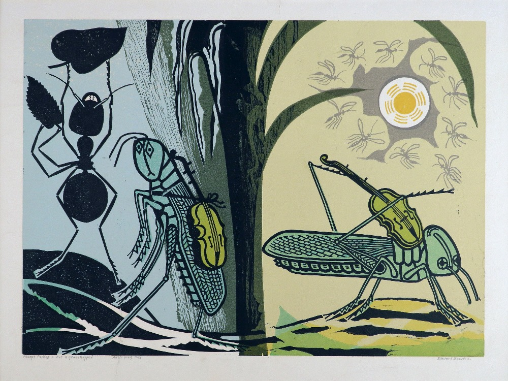 ‡Edward Bawden, CBE RA (1903-1989) The Ant and Grasshopper Signed, numbered and inscribed Aesop's