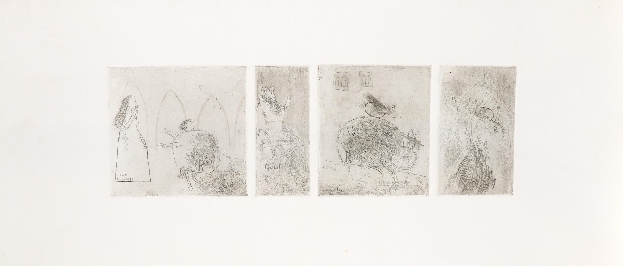 ‡David Hockney, OM, CH, RA (b.1937) Study for Rumpelstiltskin Four etchings on one sheet, trial - Image 2 of 3