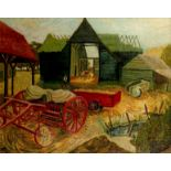 ‡Joyce Pallot (1912-2004) Farm at Brightlingsea Signed JOYCE PALLOT (lower left), and signed and