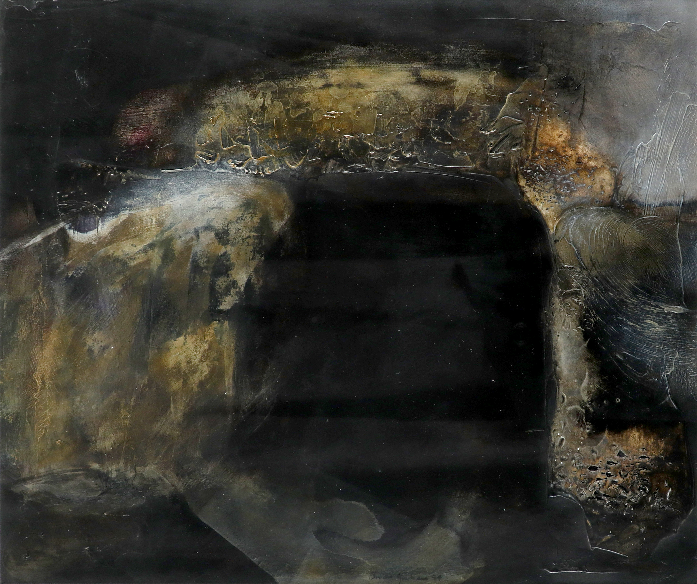 ‡Brian Graham (b.1945) A dolmen at night Signed and dated Brian Graham 94 (lower centre) Acrylic