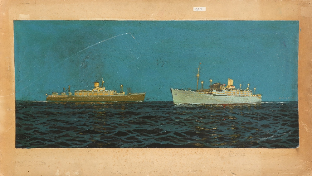 ‡Charles Pears RI, ROI, RSMA (1873-1958) The SS Orcades and the SS Himalaya Signed and inscribed