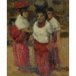 ‡Leszek Muszynski (Polish 1923-2012) Three women in a village Oil on canvasboard 21.5 x 16.5cm